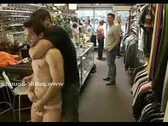 Undressed in shop in public group sex